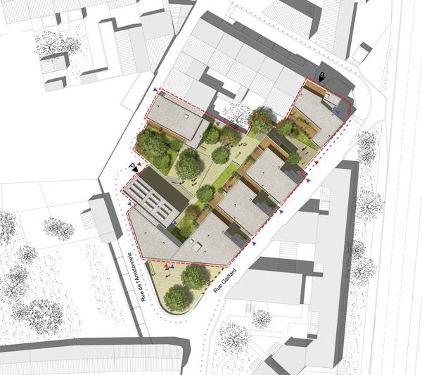 Atelier moss gimmig 36 logements sociaux lot amidonnerie for Plan masse architecture
